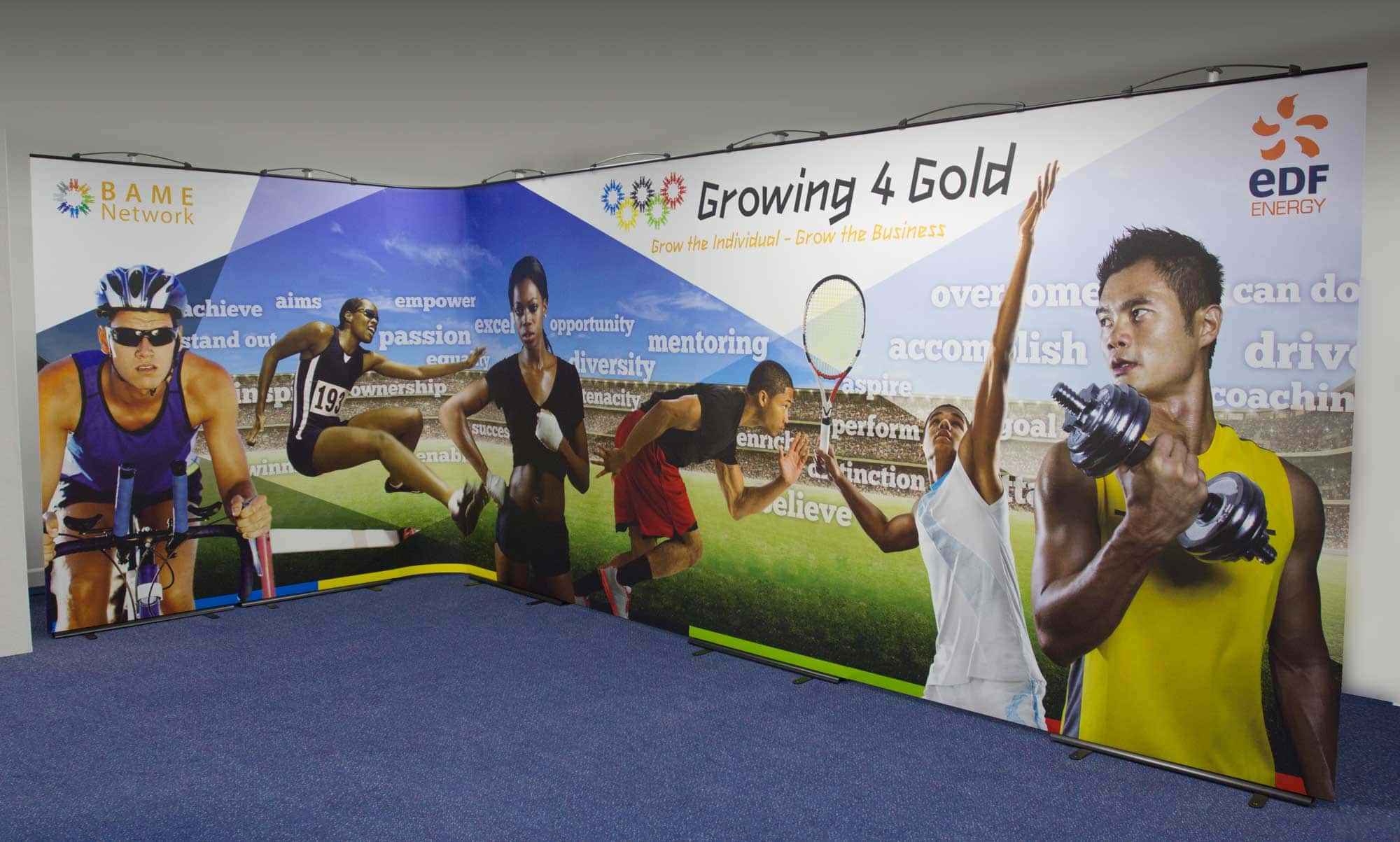 Large Format Curve Exhibition Stand featuring cut out images