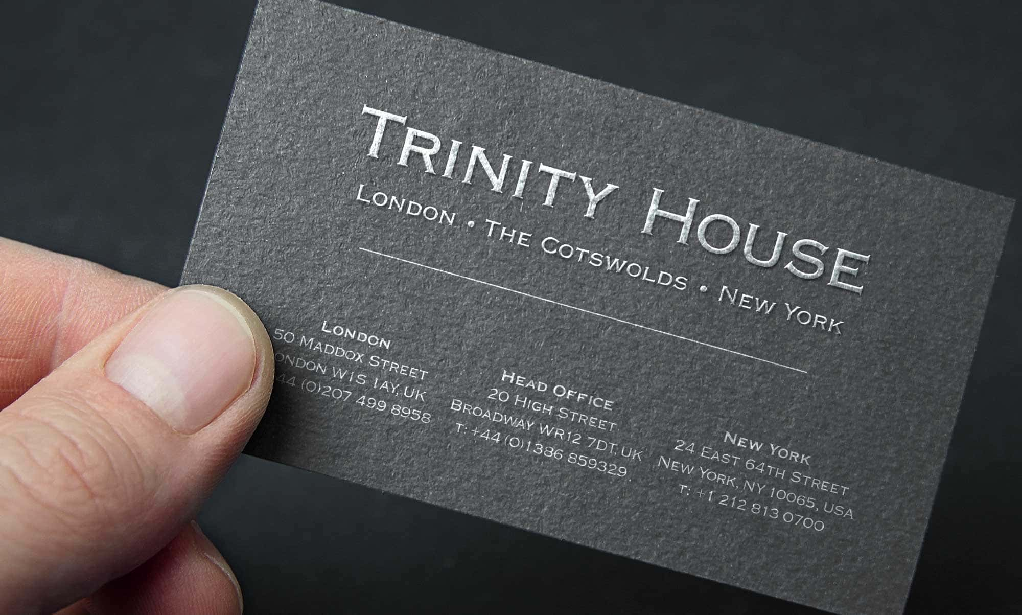 High quality business card design maple rock design cheltenham high quality embossed business card design and print trinity house paintings reheart Image collections