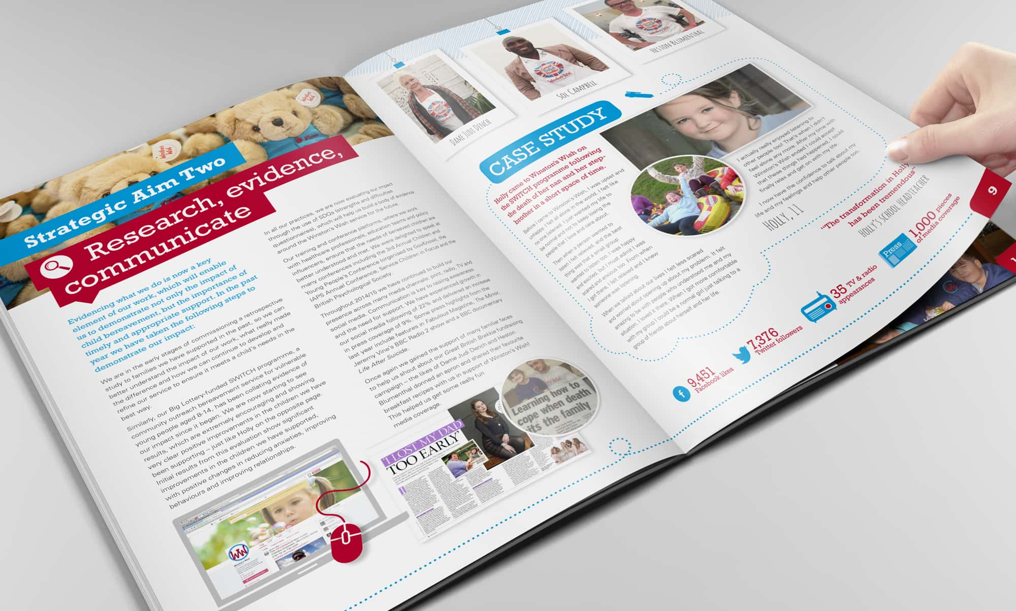 Page being turned in a professional brochure
